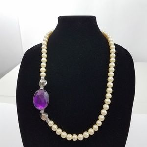Jewelry - Faux pearl Rhinestone Asymmetric Purple Statement